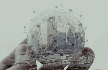 double exposure of businessman hand showing texture the world concept and social network diagram Elements of this image furnished by NASA london city background-1