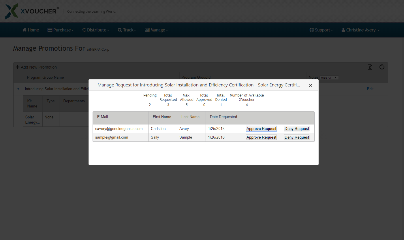 Customer Manage Requests Screen